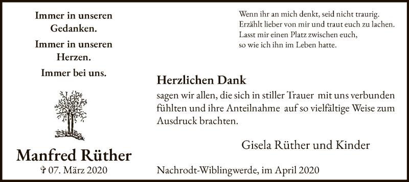 Manfred-Rüther-Danksagung