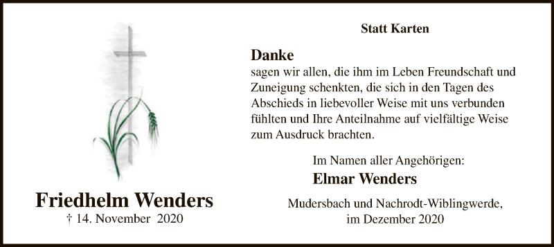 Friedhelm-Wenders Danksagung